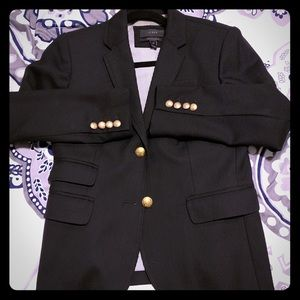 Jcrew black wool blazer with gold buttons
